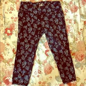 Rose print work out pants